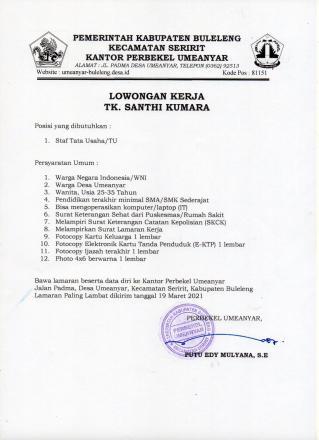 Lowongan Pekerjaan Petugas TU TK Shanti Kumara Desa Umeanyar